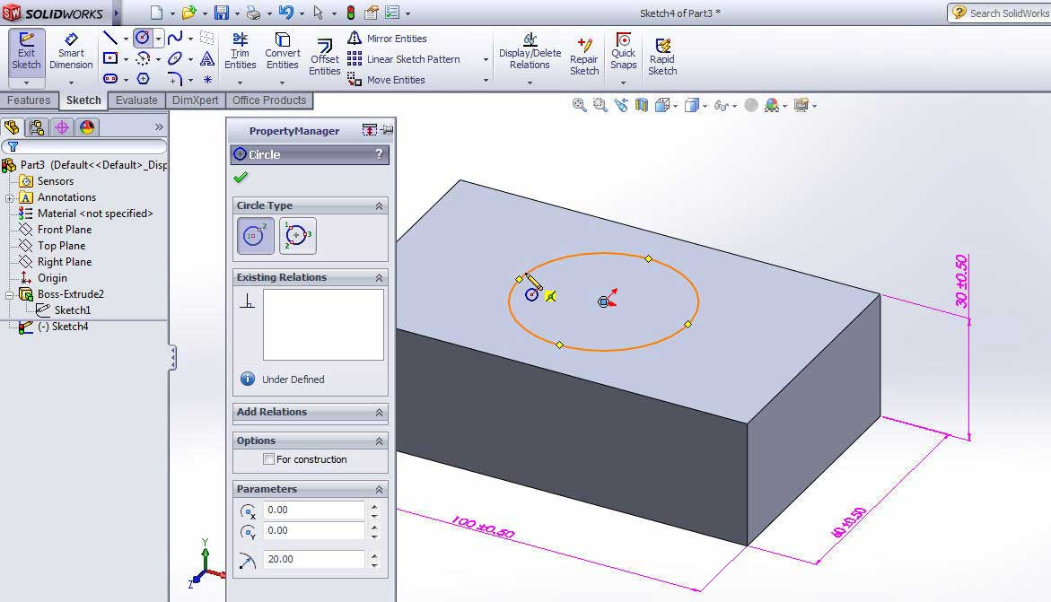 How to find the center point of a face using SOLIDWORKS